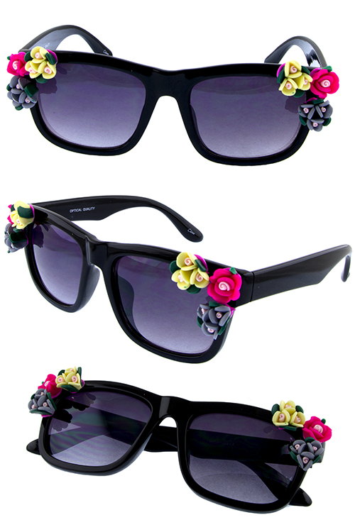 Womens popup floral square sunglasses