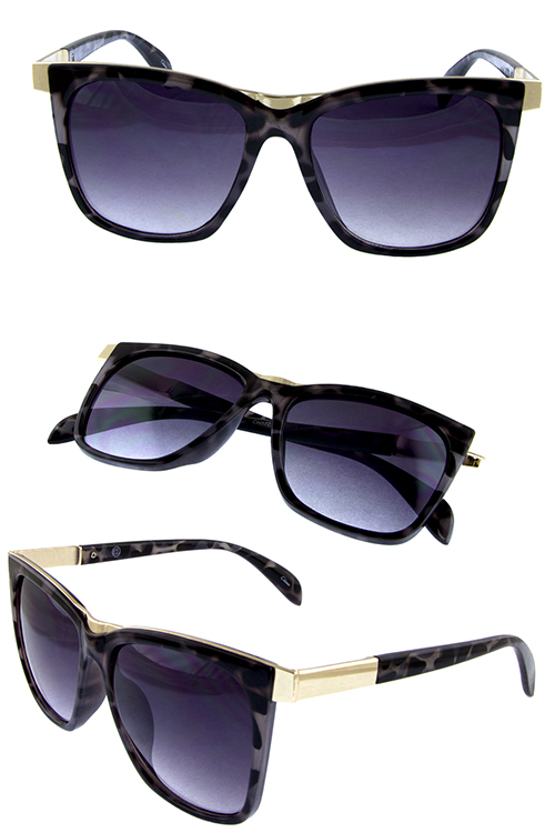 Womens metal trim horn sunglasses