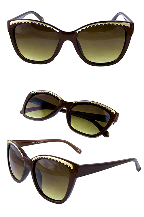 Womens square blended cat eye plastic sunglasses