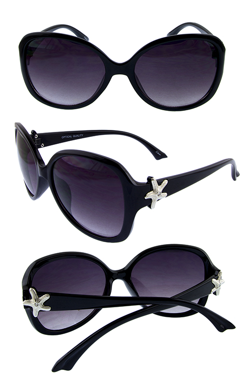 Womens starfish rhinestone square retro sunglasses