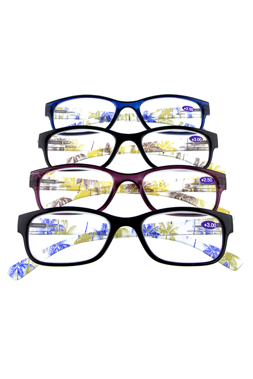 clear tropical square plastic reading glasses
