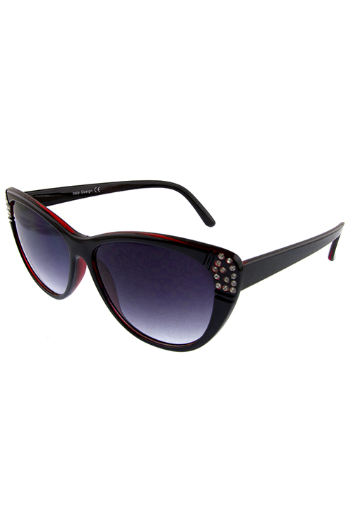 Womens rhinestone temple cat eye sunglasses