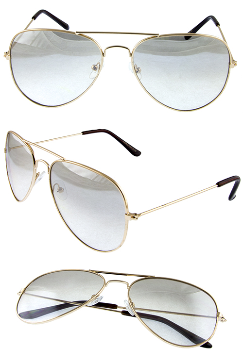Womens gloss aviator mirrored metal sunglasses