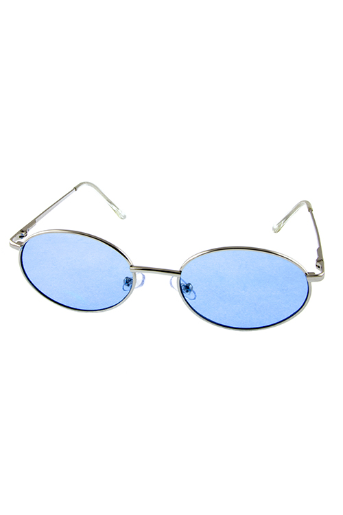 Womens rounded sleek metal fashion sunglasses