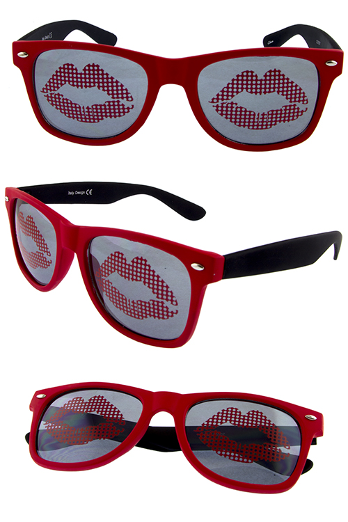 Womens kiss lip dapper horn rim square sunglasses