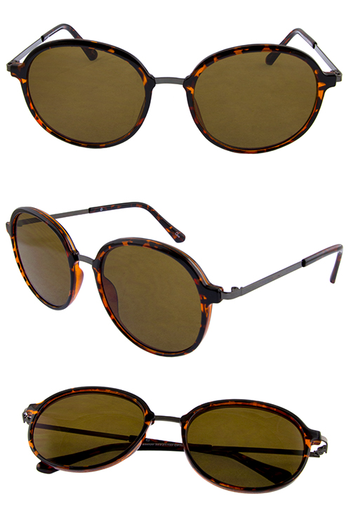 Womens dapper rounded metal blended sunglasses