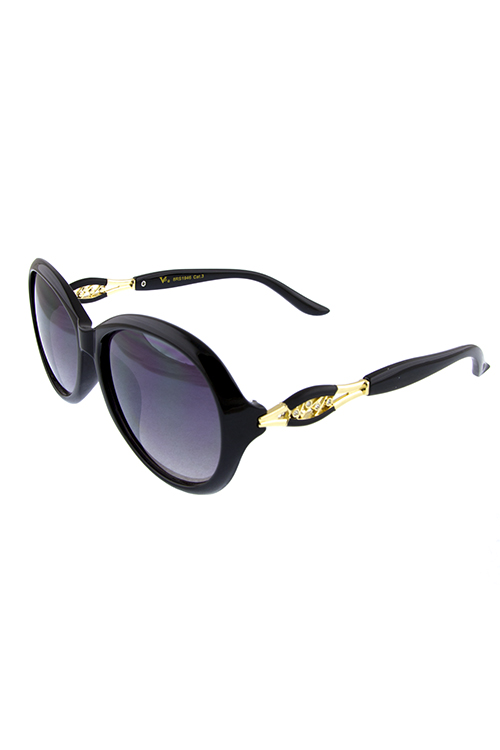 Womens rhinestone arm detailed rounded sunglasses
