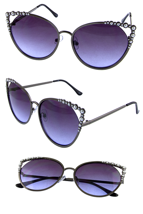 Womens metal cutout pointed pearllike sunglasses