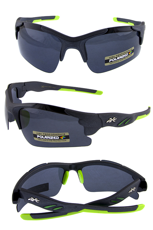 Mens polarized semi rimmed plastic sunglasses