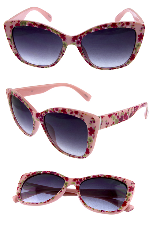 Womens cute floral square plastic sunglasses