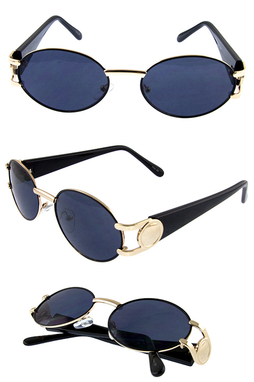 Womens vintage oval geometric metal sunglasses