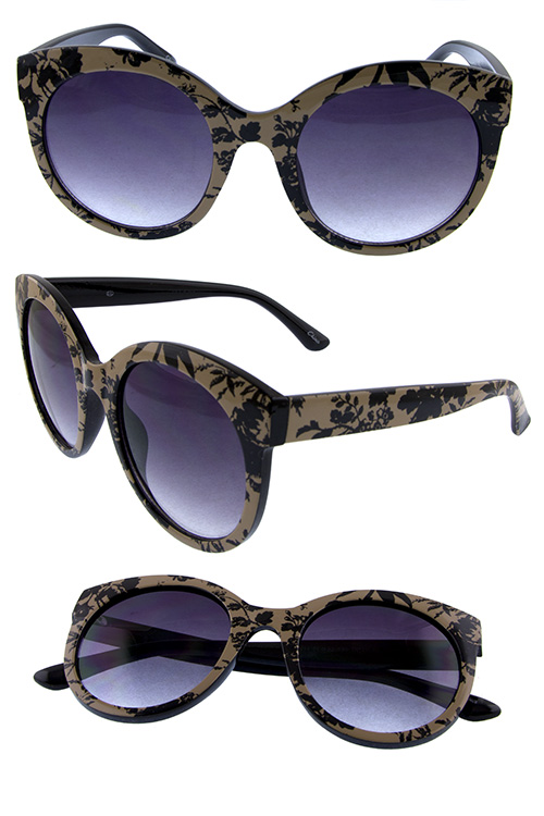 Womens rounded style plastic fashion sunglasses