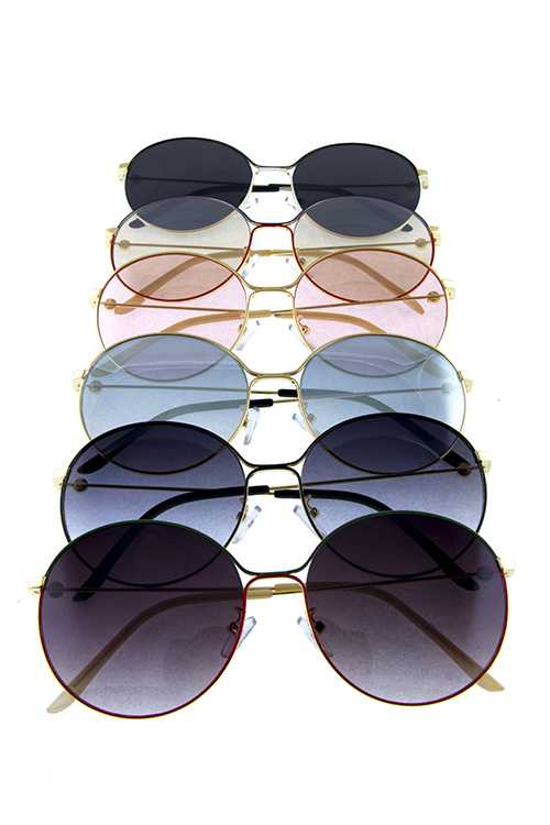 Womens metal rounded fully rimmed sunglasses