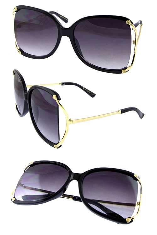 Womens metal sideframe cutout square sunglasses