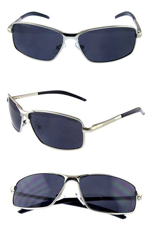 Mens simple metal classic square frame sunglasses