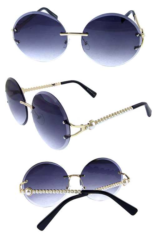 Womens rounded rimless metal fashion sunglasses