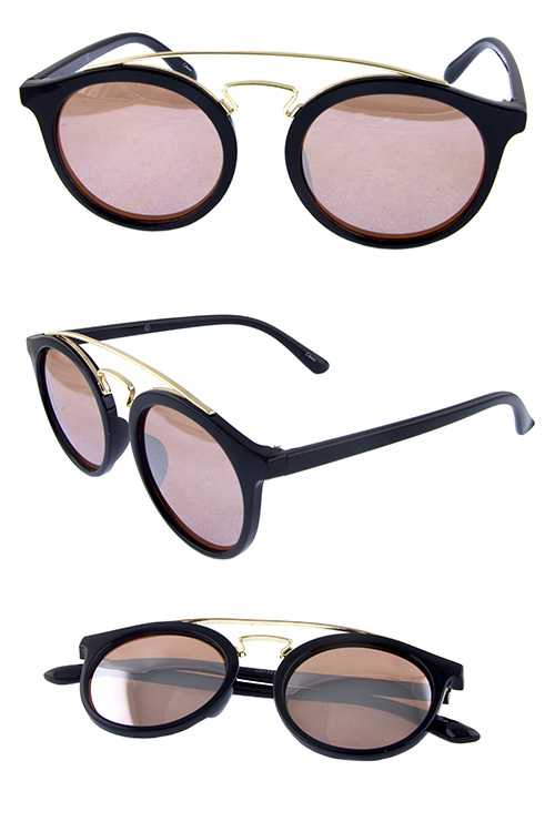 Womens rounded plastic rebar style sunglasses