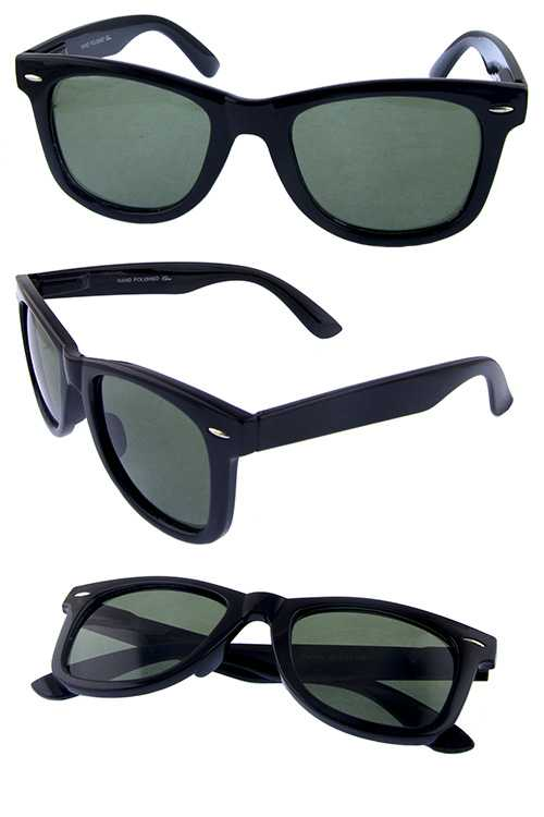 Mens square horn rimmed fashion sunglasses