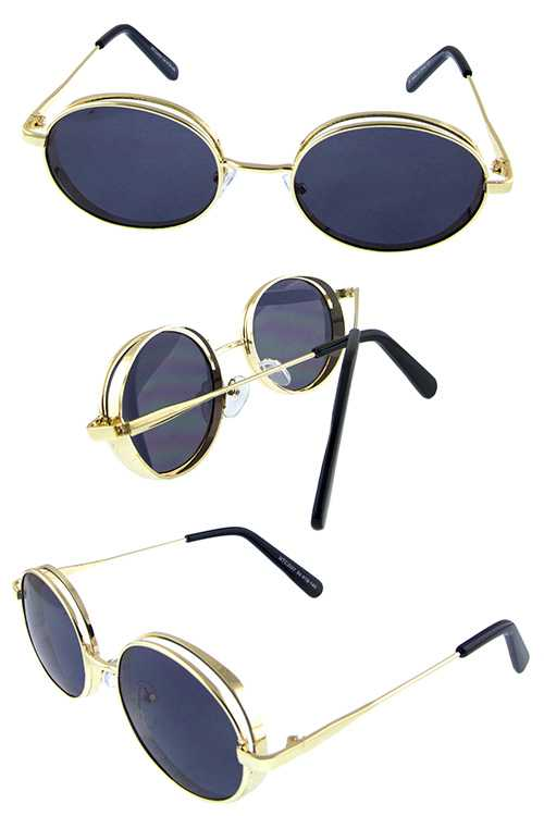 Womens metal oval rounded geometric sunglasses