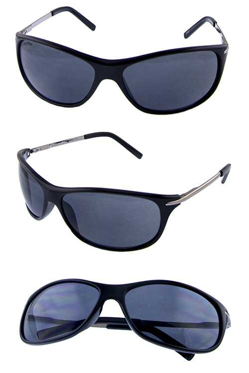 Mens metal arm blended square plastic sunglasses
