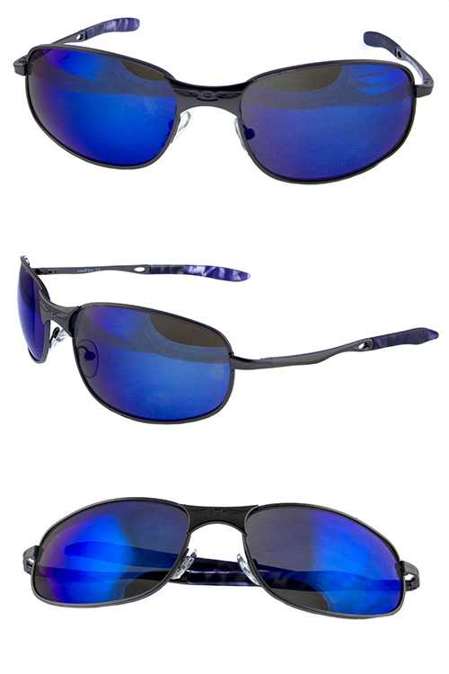 Mens active square fully rimmed metal sunglasses