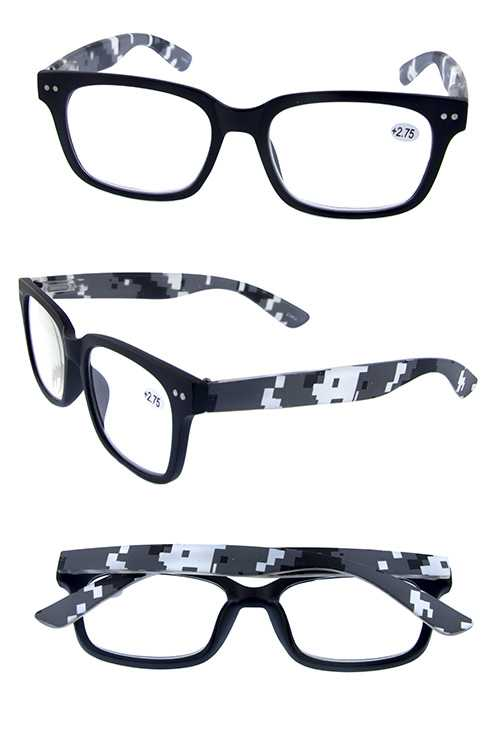 square digi camo style plastic reading glasses