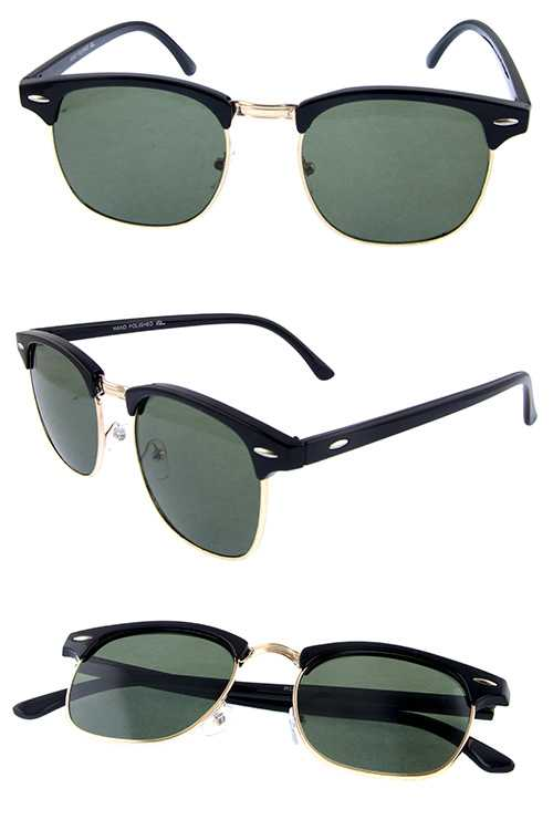 Unisex horn rimmed square fashion sunglasses