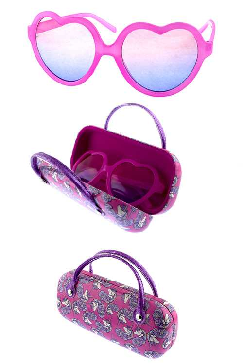 Kids heart shaped sunglasses w/ case accessory