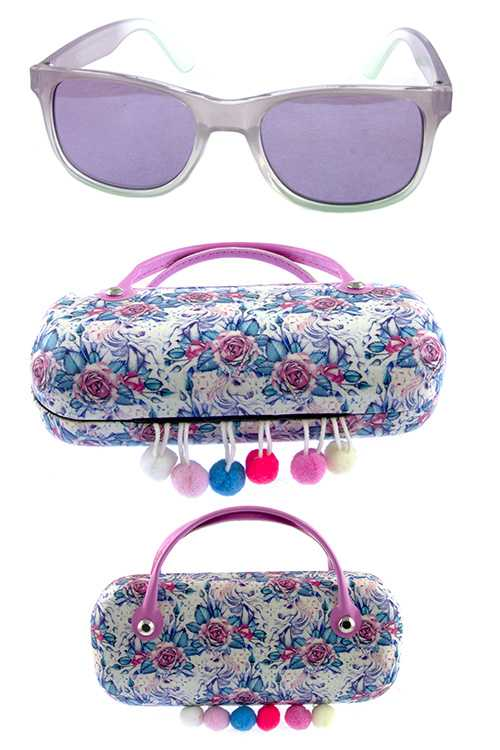 Kids horn rim square sunglasses w/ case accessory