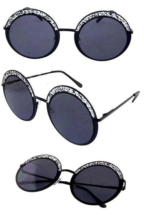ae3b269370 ... Womens round metal glitter detailed sunglasses