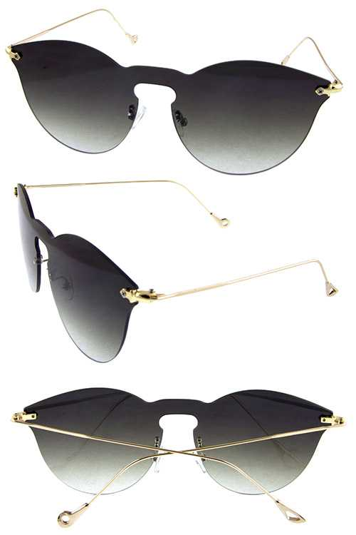 Womens rimless metal rounded fashion sunglasses