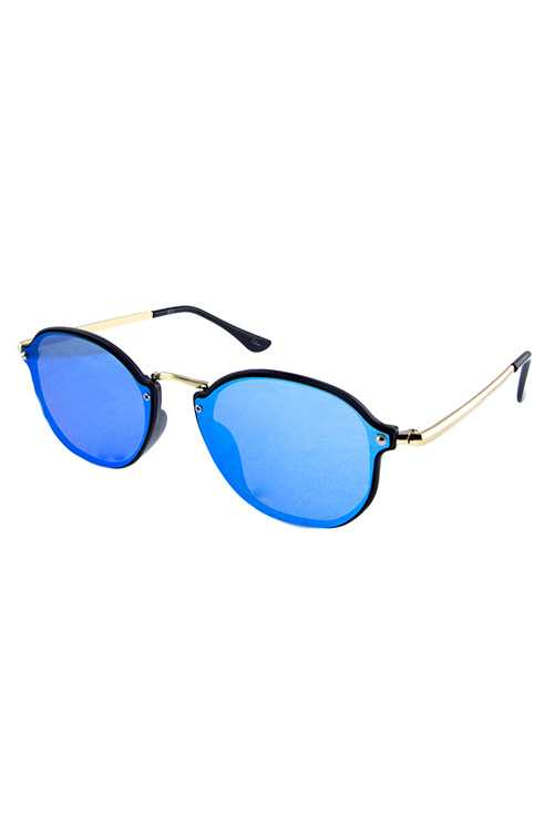 Unisex rimless rounded metal retro sunglasses