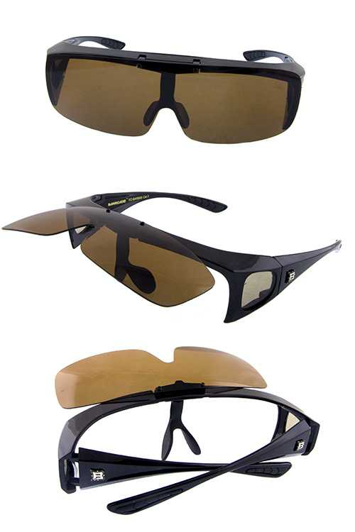 Unisex flip up polarized square style sunglasses