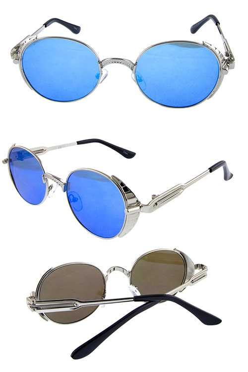 Unisex metal oval rounded classic sunglasses