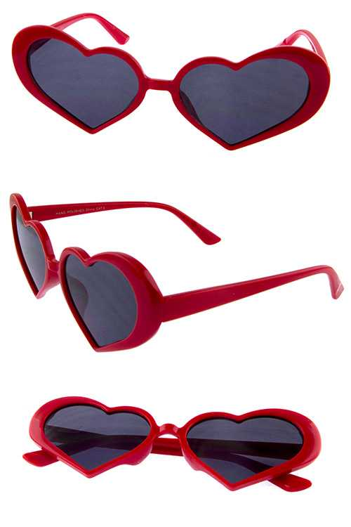 Womens heart shaped classic plastic sunglasses