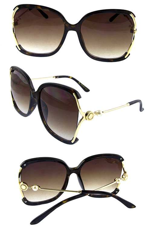Womens fashion square metal blended sunglasses