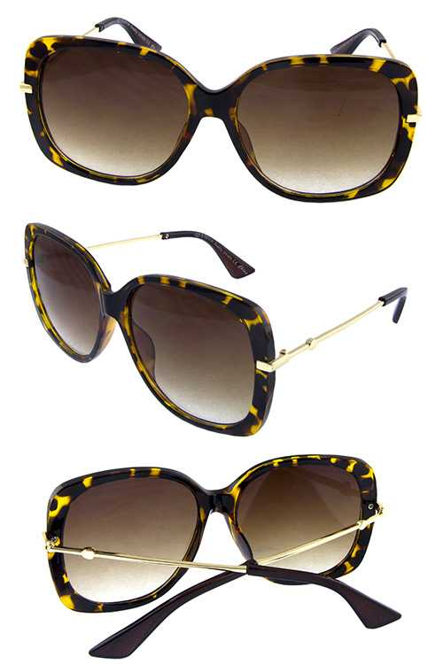 Womens metal square blended sunglasses