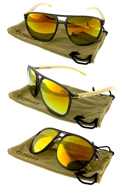 Unisex bamboo wood blended sunglasses including soft pouches