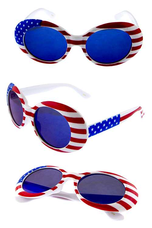 Unisex oval American Flag inspired sunglasses