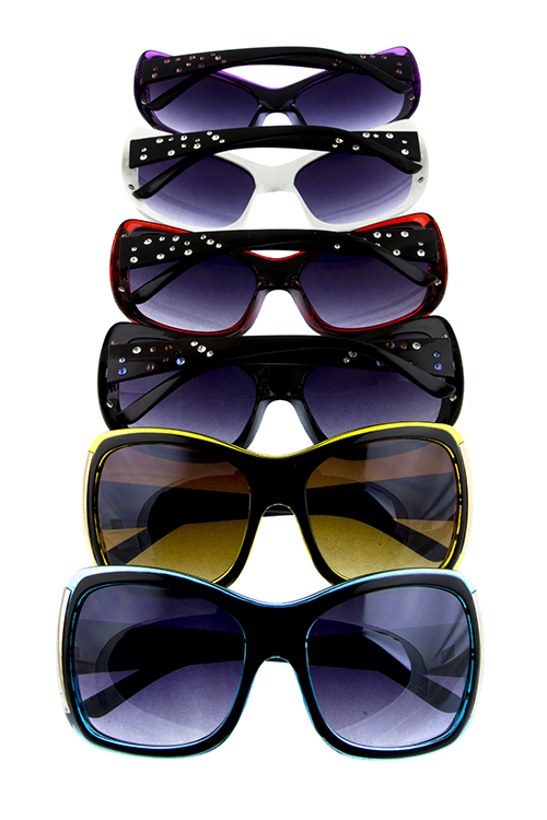 Womens oversize rhinestone square shaped plastic sunglasses