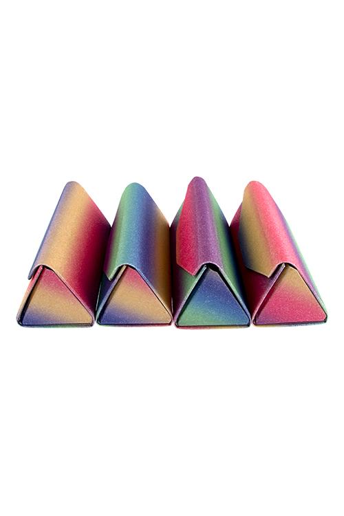 Foldable glitter colorful triangular eyewear case accessory