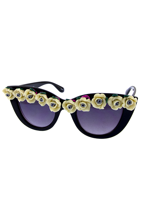 Womens blooming floral popout cat eye sunglasses