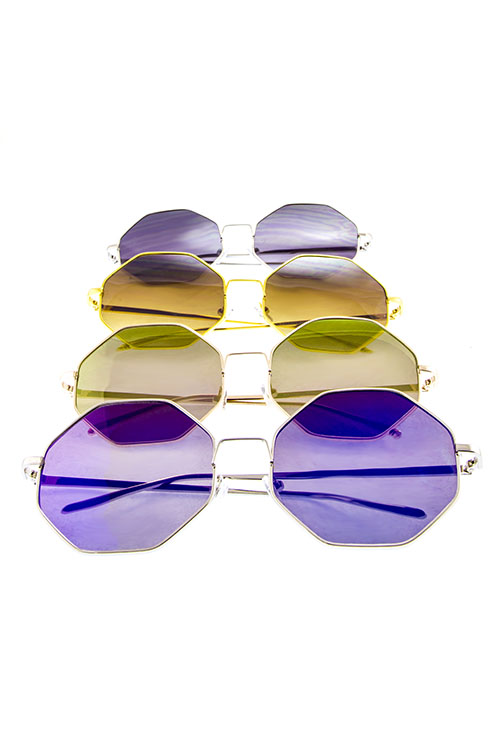 8 sided oversized flat metal womens geometric sunglasses